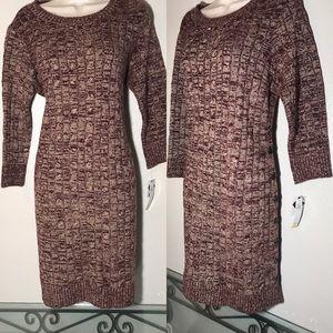 Sandra Darren knit sweater dress button detailing